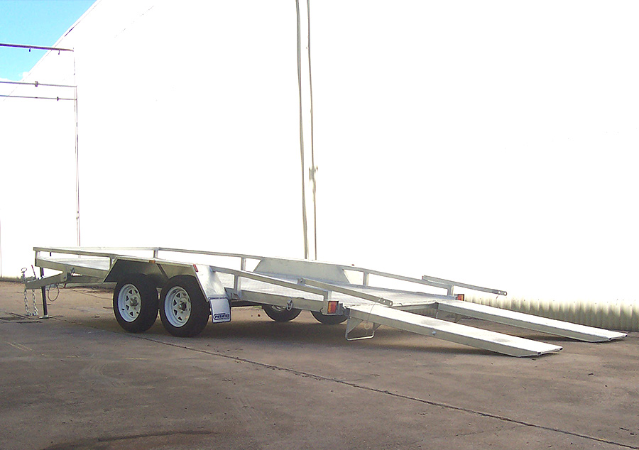 2t car trailer with tilt bed and twin ramps